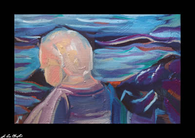 Joel by the Sea by Champlin figurative portrait seascape Maine