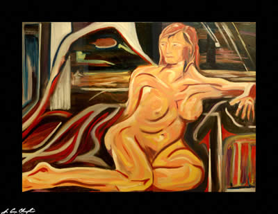 reclining nude by champlin abstract figurative portrait nude