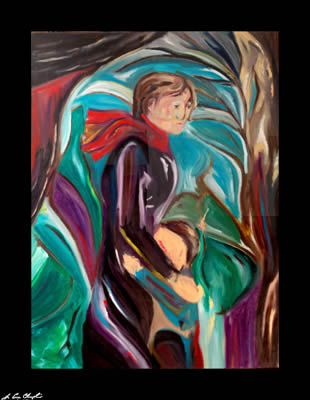 coming of winter by champlin portrait abstract figurative representational child woman