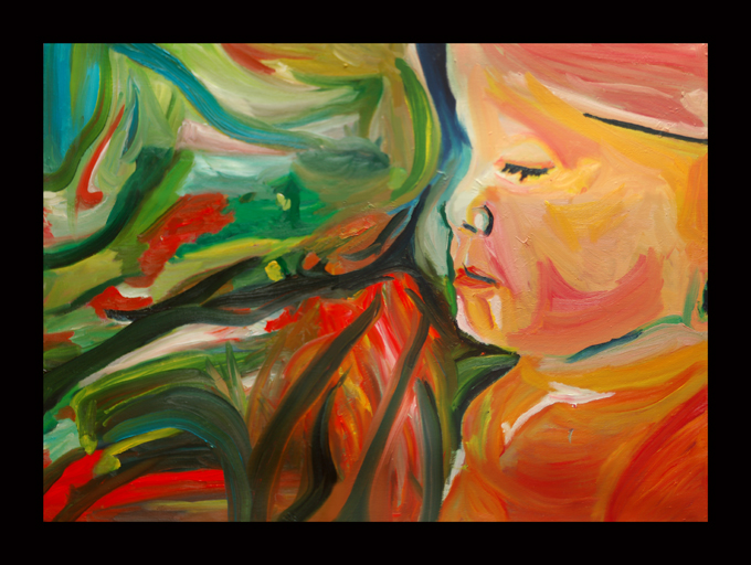 Song of Spring from 2009 Songs of the Son oil on linen expressionist artwork by the Maine artist D. Loren Champlin