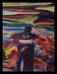 song of fall from songs of the son series expressionist abstract figurative portrait by maine artist d loren champlin